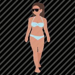 beach, bikini, female, girl, lady, swimming, tan icon