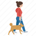dog, female, girl, person, street, walker, walking icon