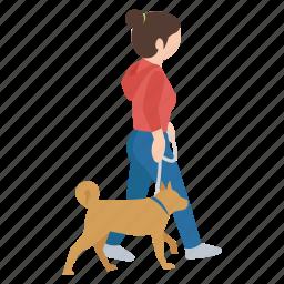 dog, female, girl, person, street, walker, walking icon