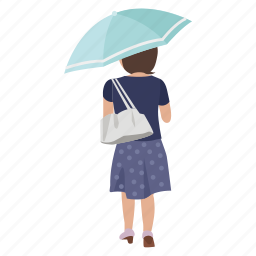 female, lady, rain, rainy, street, umbrella, walking icon