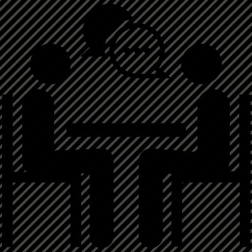 discussion, interview, job, meeting, recruitment, talk, teamwork icon