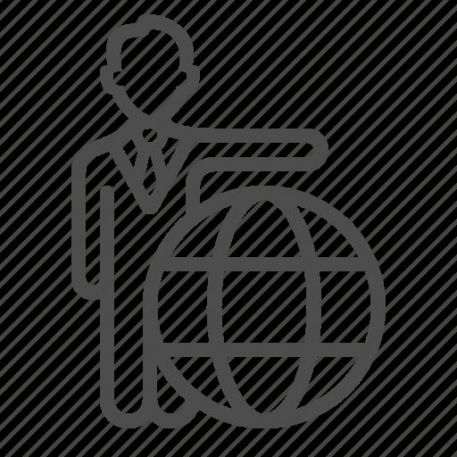 businessman, earth, global, globe, international, man, travel icon
