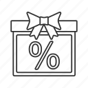 gift, gift box, package, percent, percentage, present, sale icon