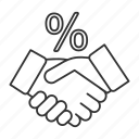business, deal, handshake, partnership, percent, percentage, profit icon