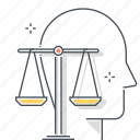 avatar, equality, face, judgement, law, principles, scale icon