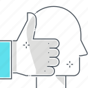 avatar, face, hand, success, thumbs, up icon