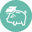 college, education, finance, money, piggy bank, savings, school icon
