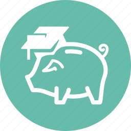 college savings, education, finance, piggy bank icon