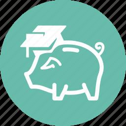 college savings, education, finance, piggy bank icon
