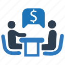 business plan, discussion, financial, financial meeting, financial plan, financial planning icon