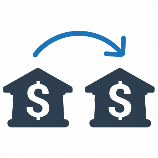 bank, bank to bank, bank transfer, connection, transaction icon