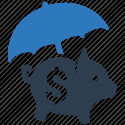 bank, money, piggy bank, protection, savings protection, umbrella icon