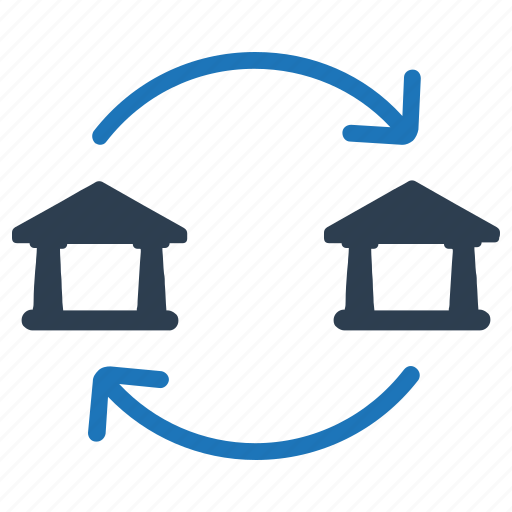 bank, bank transaction, clearing, exchange, network, transactions icon