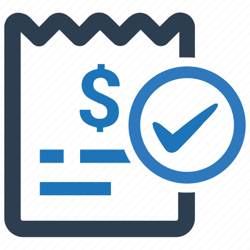 bill, invoice, paid, payment successful, receipt icon