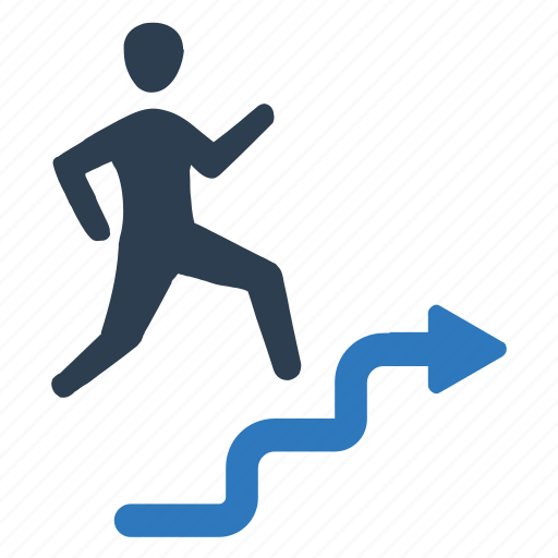 business success, businessman, running, stairs, up icon