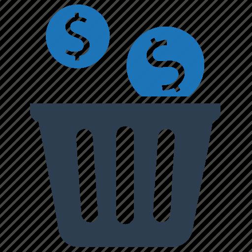 Bin, capital, money, money waste, waste, wealth icon - Download on Iconfinder
