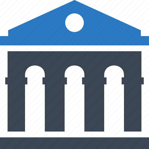 bank, banking, building, business, courthouse, finance, financial icon