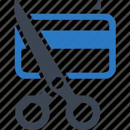 credit card, debt free, finance, scissors icon