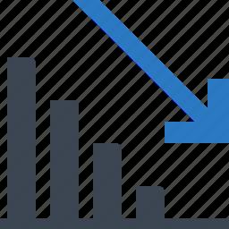 analytics, decline, down, financial graph icon