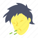 avatar, coughing, emotion, face, man icon