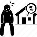 burden, debt, home, house, interest rate, liability, loan icon
