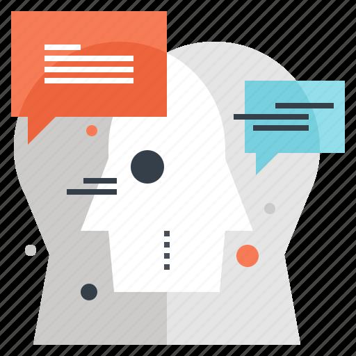 communication, conversation, dialogue, head, human, people, thinking icon