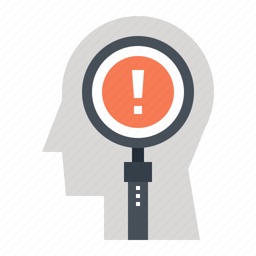 head, human, magnifier, mind, search, solution, thinking icon