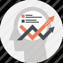 arrow, chart, head, human, mind, plan, thinking icon