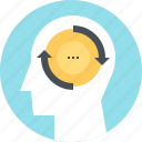 change, head, human, mind, psychology, thinking, transformation icon