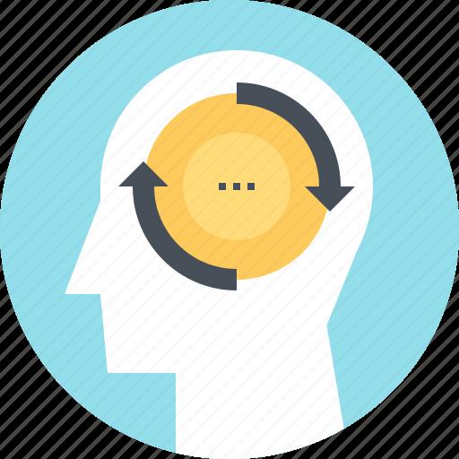 change, head, human, mind, psychology, thinking, transformation icon