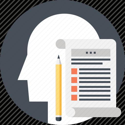 document, head, human, list, mind, skills, thinking icon