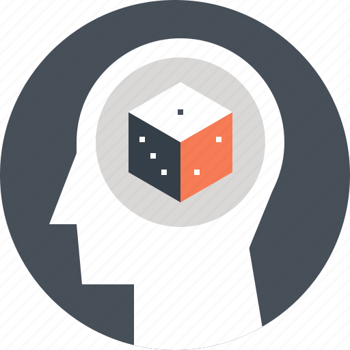 dice, gambling, game, head, human, mind, opportunity icon