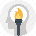 head, human, mind, motivation, success, thinking, torch icon
