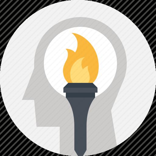 head, human, mind, motivation, success, thinking, torch icon