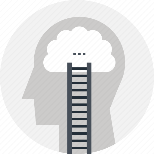 career, head, human, ladder, mind, success, thinking icon