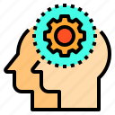 brain, couple, gear, head, human, mind, thinking icon