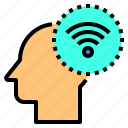 brain, communication, head, human, mind, thinking, wifi icon