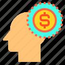 brain, dollar, head, human, mind, money, thinking