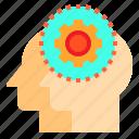 brain, couple, gear, head, human, mind, thinking