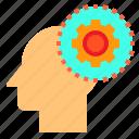 brain, gear, head, human, mind, setting, thinking