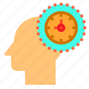 brain, head, human, mind, thinking, time icon