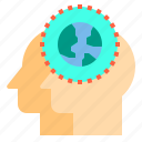 brain, couple, head, human, mind, thinking, world icon