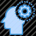 brain, gear, head, human, mind, setting, thinking icon