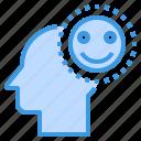 brain, happy, head, human, mind, smile, thinking