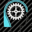 avatar, cog, female, gear, management, woman icon