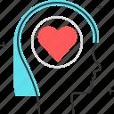 avatar, emotion, female, heart, love, woman icon