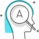 brain, discovery, female, learn, magnifier, search, woman icon