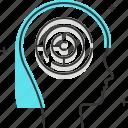 avatar, development, female, maze, problem solving, woman icon