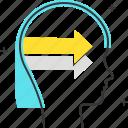 arrow, avatar, female, open minded, woman
