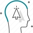 arrow, avatar, click, computer, cursor, male, man icon
